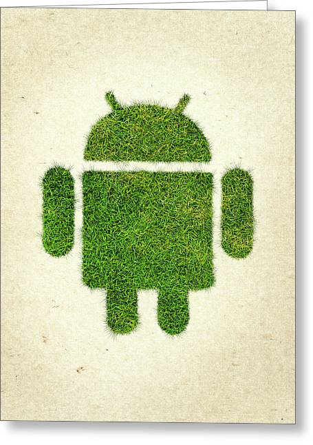 Google Greeting Cards - Andoird Grass Logo Greeting Card by Aged Pixel