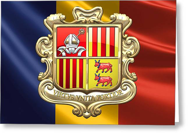 Coa Greeting Cards - Andorra - Coat of Arms over Flag Greeting Card by Serge Averbukh