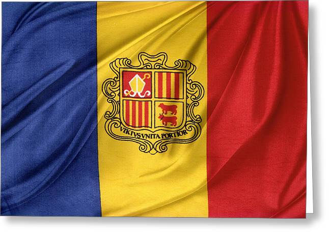 Shiny Fabric Greeting Cards - Andorra flag Greeting Card by Les Cunliffe