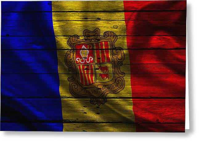 Flag Pole Greeting Cards - Andorra Greeting Card by Joe Hamilton
