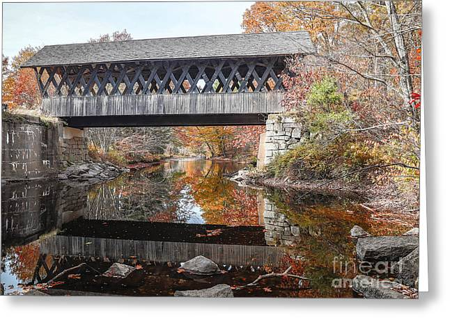 Covered Bridge Greeting Cards - Andover Covered Bridge Greeting Card by Edward Fielding