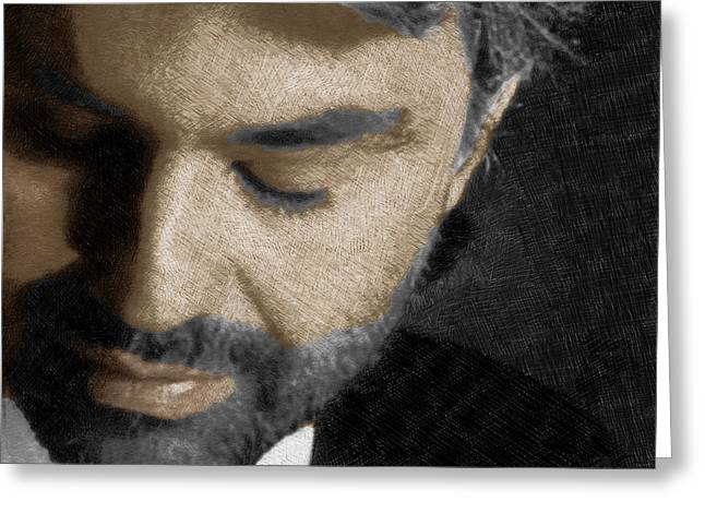 Crooner Greeting Cards - Andrea Bocelli And Square Greeting Card by Tony Rubino