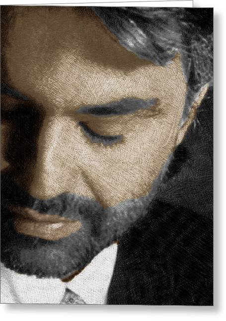 Crooner Greeting Cards - Andrea Bocelli And Vertical Greeting Card by Tony Rubino