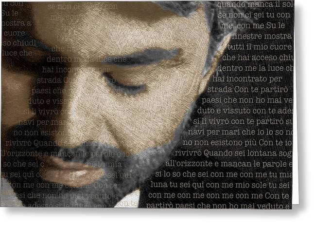 Crooner Greeting Cards - Andrea Bocelli And Lyrics Square Greeting Card by Tony Rubino