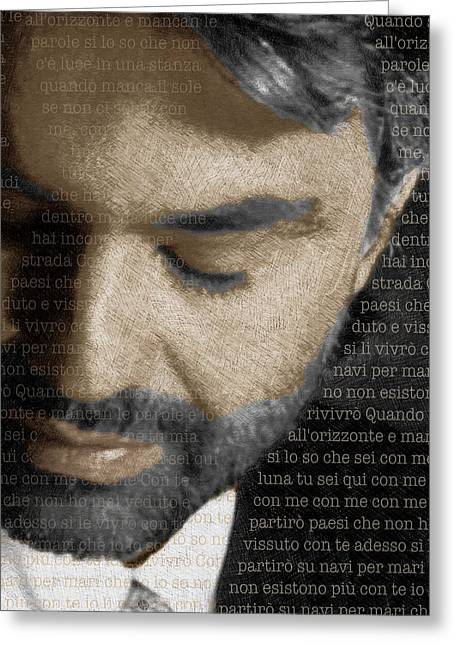 Crooner Greeting Cards - Andrea Bocelli And Lyrics Vertical Greeting Card by Tony Rubino