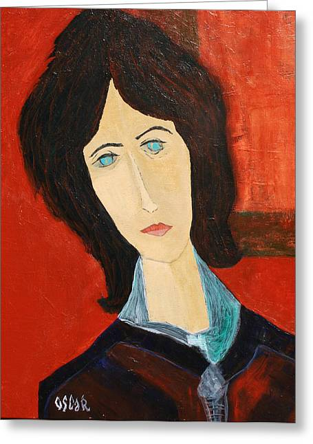 Portraits Paintings Greeting Cards - Andrea II Greeting Card by Oscar Penalber