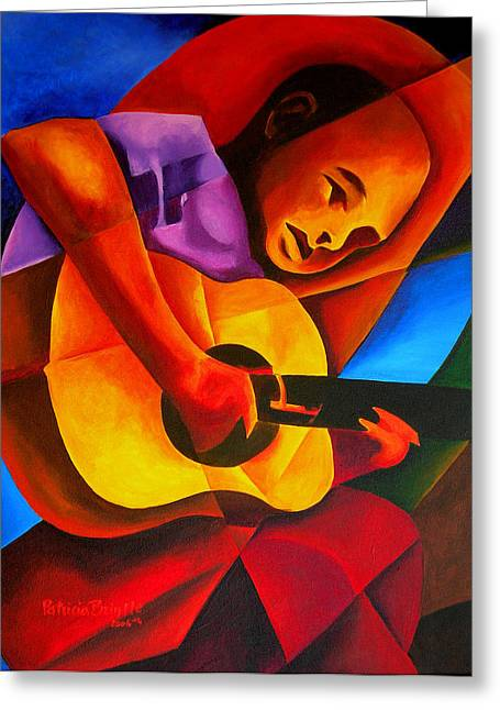 Playing Musical Instruments Greeting Cards - Andres, 2006 Greeting Card by Patricia Brintle