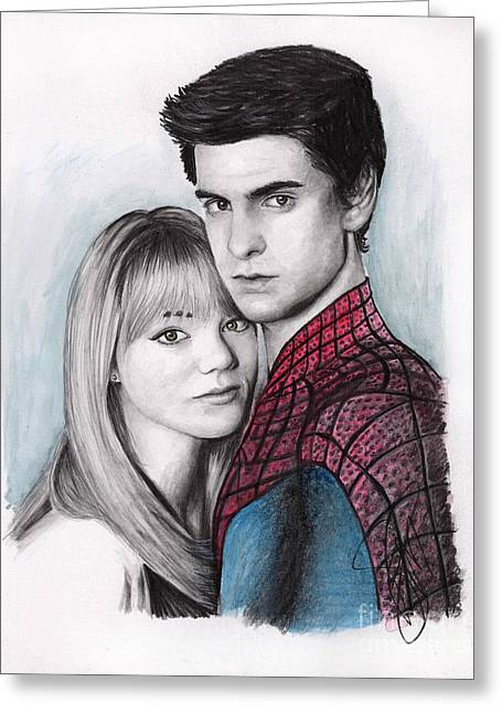 Amazing Drawings Greeting Cards - Andrew Garfield and Emma Stone Greeting Card by Rosalinda Markle