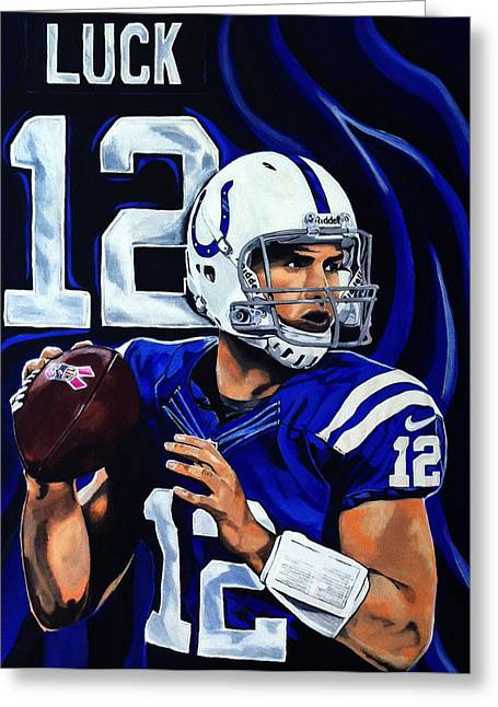Larry Bird Greeting Cards - Andrew Luck Greeting Card by Chris Eckley