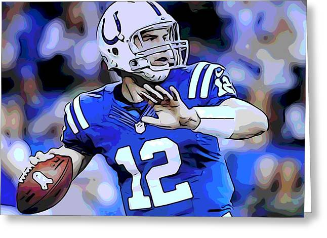 Nfl Mixed Media Greeting Cards - Andrew Luck Indianapolis Colts Greeting Card by Dan Sproul