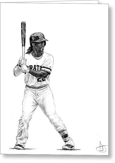 Pittsburgh Drawings Greeting Cards - Andrew McCutchen Greeting Card by Joshua Sooter