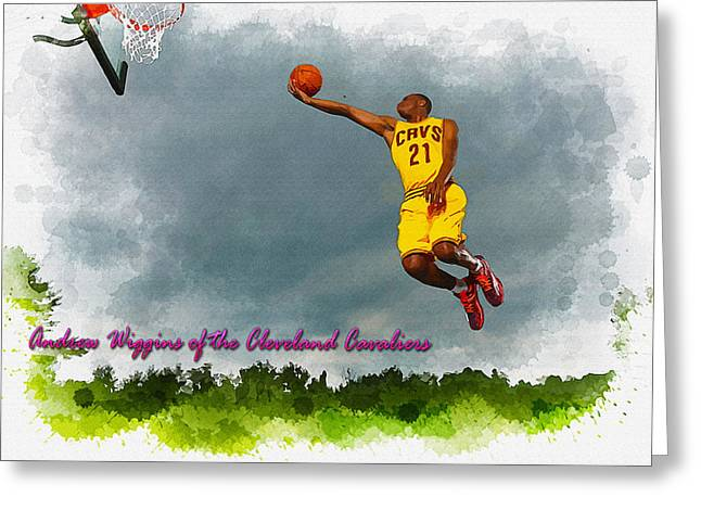 Allstar Greeting Cards - Andrew Wiggins of the Cleveland Cavaliers Greeting Card by Don Kuing