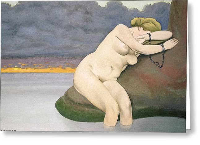Manacles Greeting Cards - Andromeda Bound Greeting Card by Felix Edouard Vallotton