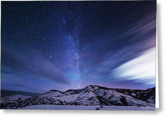 Winter Prints Greeting Cards - Andromeda Rising Greeting Card by Darren  White