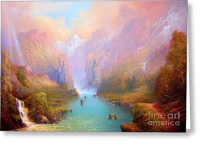 Rings Greeting Cards - Anduin The Great River Greeting Card by Joe  Gilronan