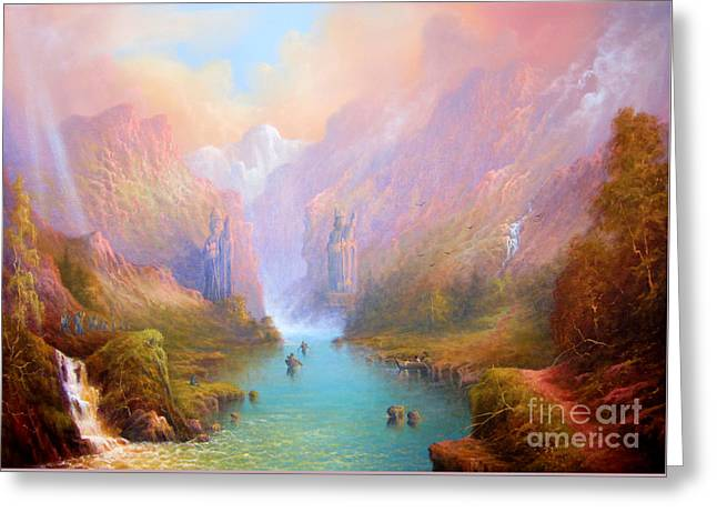 Elf Greeting Cards - Anduin The Great River Greeting Card by Joe  Gilronan