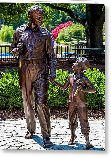Andy Griffith Show Greeting Cards - Andy and Opie statue Greeting Card by Arturo Vazquez