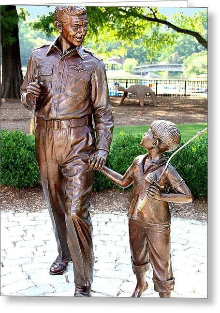 Andy Griffith Show Greeting Cards - Andy and Opie Statue NC Greeting Card by Frank Savarese