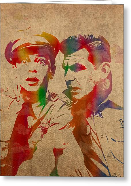 Andy Greeting Cards - Andy Griffith Don Knotts Barney Fife of Mayberry Watercolor Portrait on Worn Distressed Canvas Greeting Card by Design Turnpike