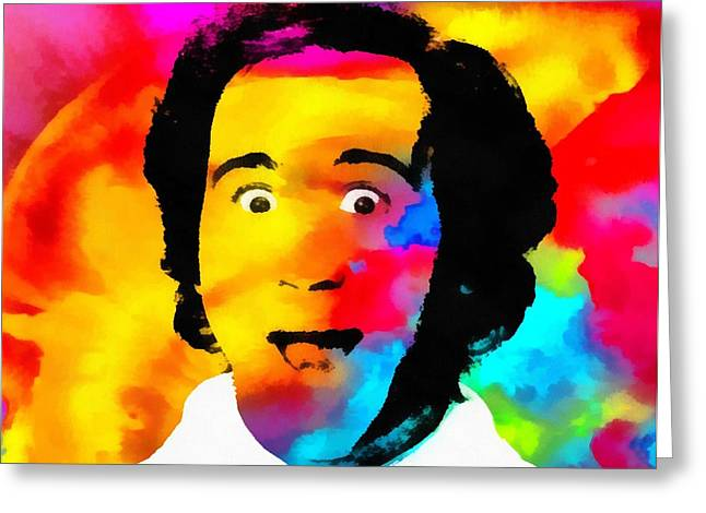Comedian Mixed Media Greeting Cards - Andy Kaufman Pop Portrait Greeting Card by Dan Sproul