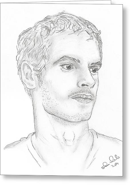 Wimbledon Drawings Greeting Cards - Andy Murray Greeting Card by Steven White