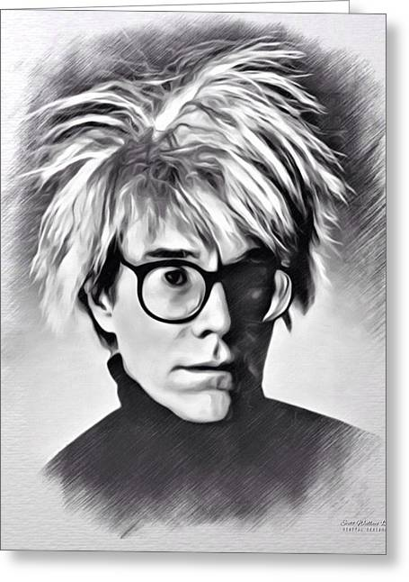 1987 Digital Art Greeting Cards - Andy Warhol Sketch Greeting Card by Scott Wallace