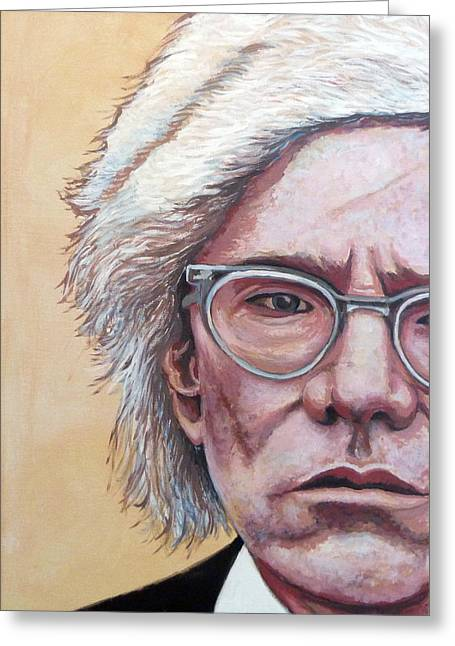 Celebrity Portrait Greeting Cards - Andy Warhol Greeting Card by Tom Roderick