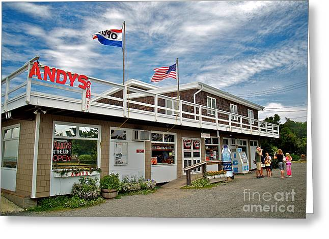 Lbi Greeting Cards - Andys At The Light Greeting Card by Mark Miller