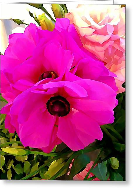 Hot Pink Custom Greeting Cards - Anemone Greeting Card by Anne Sterling
