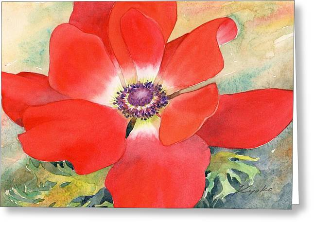 """flower Still Life Prints"" Greeting Cards - Anemone Greeting Card by Kyoko Hunt"