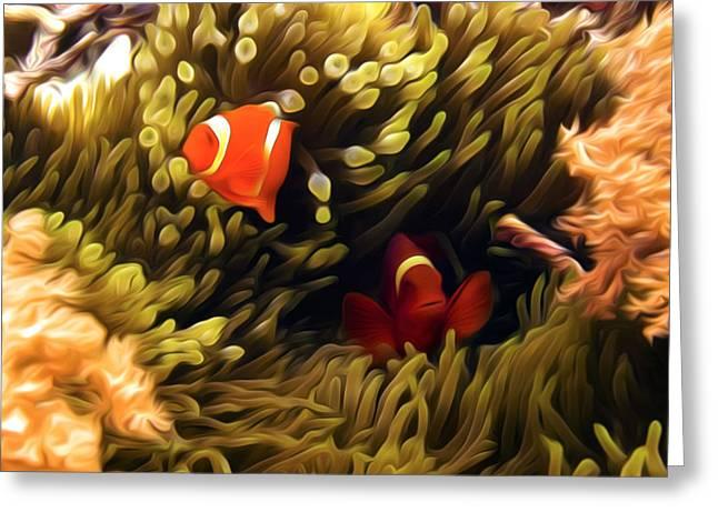 Wakatobi Greeting Cards - Anemonefish In Colorful Anemone 3 Greeting Card by Lanjee Chee