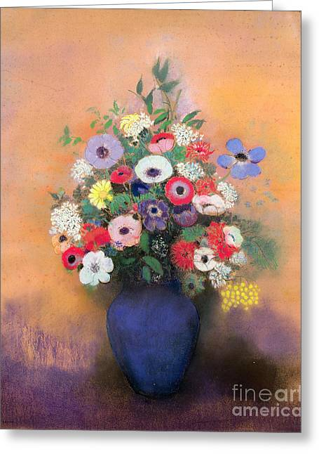 Flower Still Life Prints Greeting Cards - Anemones and lilac in a Blue Vase Greeting Card by Odilon Redon