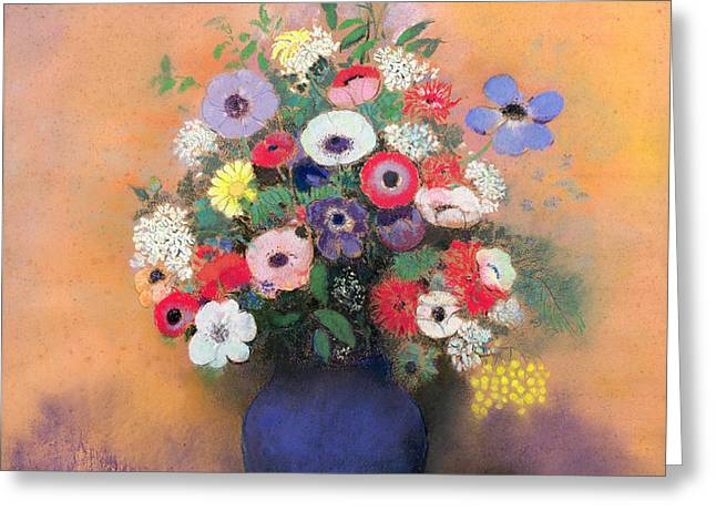 Anemones and lilac in a Blue Vase Greeting Card by Odilon Redon