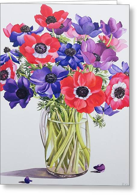 Flower Still Life Greeting Cards - Anemones In A Glass Jug, 2007 Wc On Paper Greeting Card by Christopher Ryland