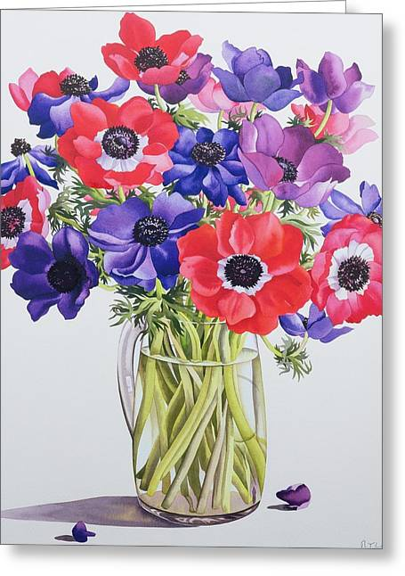 See Through Greeting Cards - Anemones in a glass jug Greeting Card by Christopher Ryland