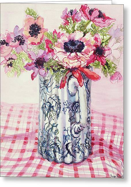 Flowered Greeting Cards - Anemones in a Victorian Flowered Jug Greeting Card by Joan Thewsey