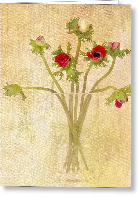Anemone Greeting Cards - Anemones in Vase I Greeting Card by Rebecca Cozart