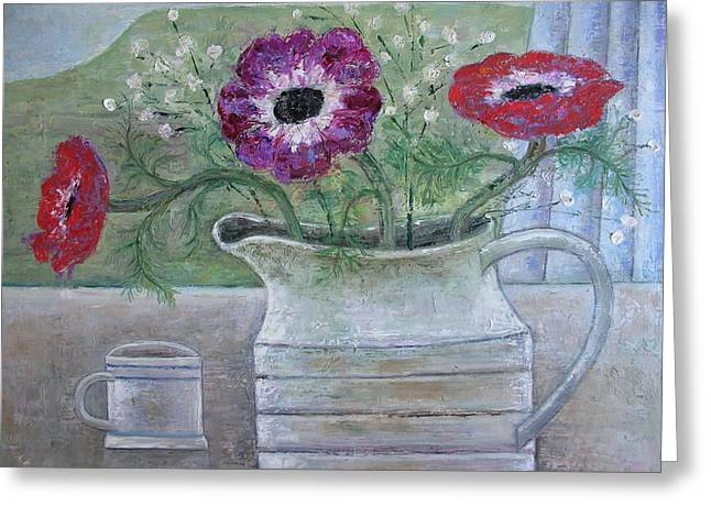 Anemones In White Jug, 2013, Oil On Panel Greeting Card by Ruth Addinall