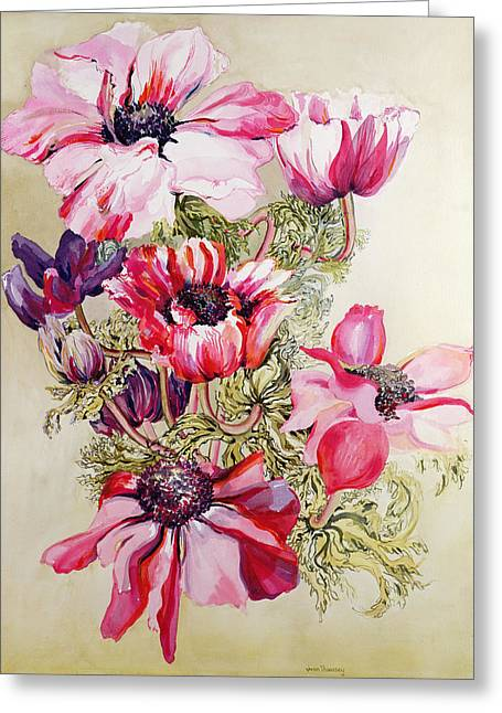 Bold Blossom Greeting Cards - Anemones Greeting Card by Joan Thewsey