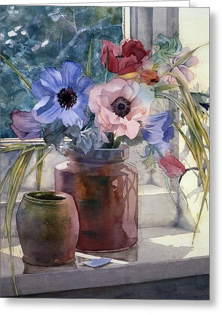 """indoor"" Still Life Greeting Cards - Anemones Greeting Card by Julia Rowntree"