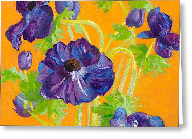 Springflowers Greeting Cards - Anemones on a darkyellow background Greeting Card by Ben Rikken