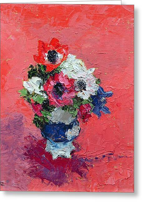 Flower Still Life Greeting Cards - Anemones on a red ground Greeting Card by Diana Schofield