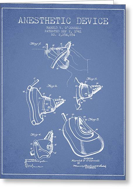 Anesthesia Greeting Cards - Anesthetic Device patent from 1941 - Light Blue Greeting Card by Aged Pixel