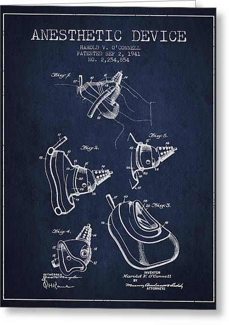 Anesthesia Greeting Cards - Anesthetic Device patent from 1941 - Navy Blue Greeting Card by Aged Pixel