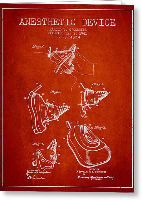 Anesthesia Greeting Cards - Anesthetic Device patent from 1941 - Red Greeting Card by Aged Pixel