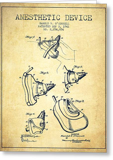 Anesthesia Greeting Cards - Anesthetic Device patent from 1941 - Vintage Greeting Card by Aged Pixel