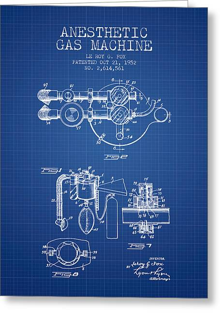 Anesthesia Greeting Cards - Anesthetic Gas Machine patent from 1952 - Blueprint Greeting Card by Aged Pixel