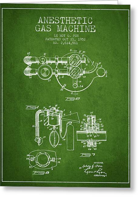 Anesthesia Greeting Cards - Anesthetic Gas Machine patent from 1952 - Green Greeting Card by Aged Pixel