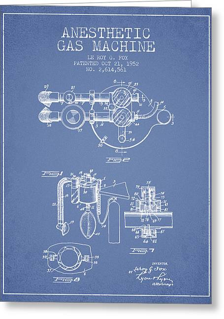 Anesthesia Greeting Cards - Anesthetic Gas Machine patent from 1952 - Light Blue Greeting Card by Aged Pixel