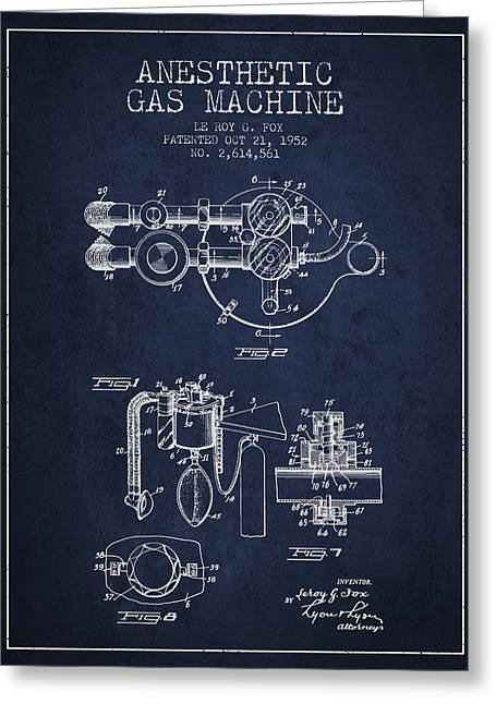 Anesthesia Greeting Cards - Anesthetic Gas Machine patent from 1952 - Navy Blue Greeting Card by Aged Pixel